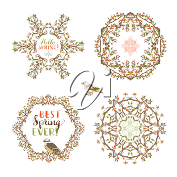 Frames of red blossoms, leaves and bird on tree branches. There is copyspace for your text in the center.