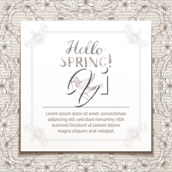 Hand-drawn blossoms on tree branches in sepia. Hand-written brush lettering. There is copyspace for your text on white paper.