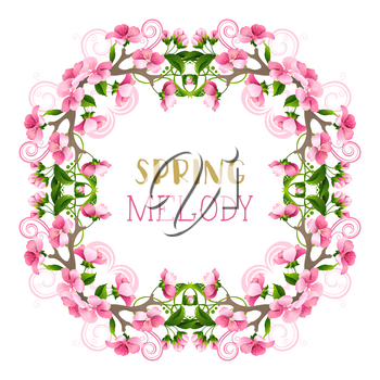 Pink spring flowers, leaves, branches and flourishes. Ornate seasonal page decoration isolated on white background.