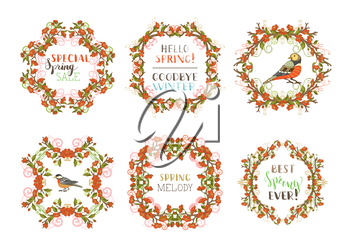 Hand-drawn ornaments and flourishes, blossoms and leaves on branches. Seasonal card template. Hand-written lettering. Page decorations isolated on white background.