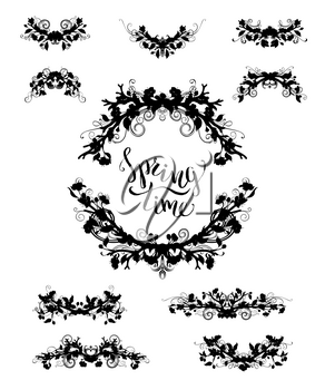 Vector silhouettes of spring flowers, leaves and flourishes on branches. Black ornaments isolated on white background.