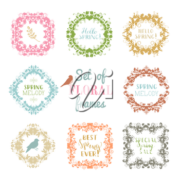Silhouettes of spring flowers, leaves, branches, birds and flourishes. Colourful duotone page decorations isolated on white background.
