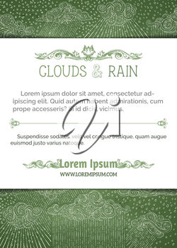 Chalk clouds and rain on green chalkboard background. Hand-drawn swirls, drops, spirals and curls. There is copy space for your text on white paper in front of pattern.