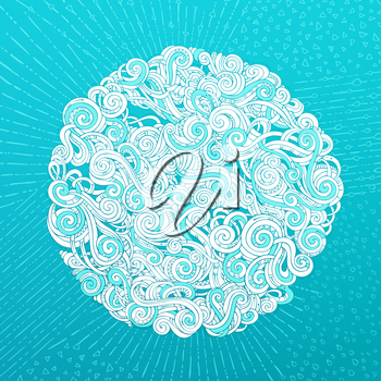 Hand-drawn curls, spirals and strokes on bright blue background. Round ornament.