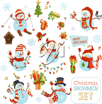 Snowman is skiing. One is with blank tablet. Others are with candy, gifts, baubles, Christmas sock, birds, garland. Christmas tree and birdhouse. Music notes and snowflakes.