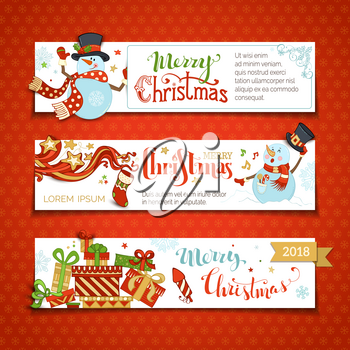 Cartoon snowman and gift boxes, firework, Christmas sock, swirls, snowflakes and stars. Snowman is singing. Copy space for your text.