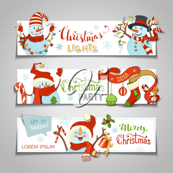 Cartoon snowmen and lights, gift box, Christmas baubles and sock, candy canes, snowflakes and stars. Christmas party. Copy space for your text.