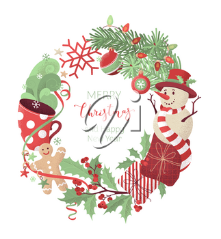 Gifts, cup of hot cocoa, spruce branches with baubles, snowman, gingerbread man, mistletoe. Happy holidays red and green flat background. Hand-drawn noise texture.