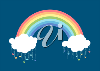 Royalty Free Clipart Image of a Valetine's Day Rainbow
