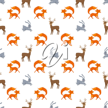 Deer, fox and hare in cartoon style. Boundless background for your design.