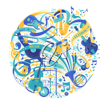 Musical instruments store assortment flat vector illustration. Jazz music festival advertisement. Electric guitar, grand piano, trumpet, saxophone isolated design elements. Retro microphone, violin