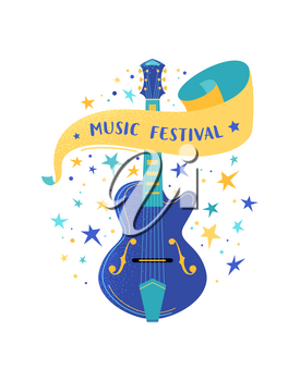Electric guitar flat vector illustration with lettering. String musical instrument. Music festival typography on ribbon. Blues musician performance poster. Rock and roll live concert web banner