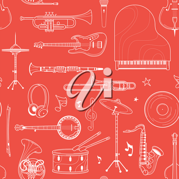 Musical orchestra white outline seamless pattern. Drumset, record, french horn line art texture. Contour keyboard, woodwind instruments on red background. Jazz concert textile design