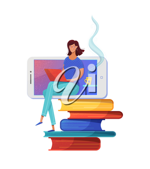 Distance education flat vector illustration. Woman sitting on books stack, freelancer using laptop cartoon character. Remote work, e learning isolated clipart. Online reading, digital library