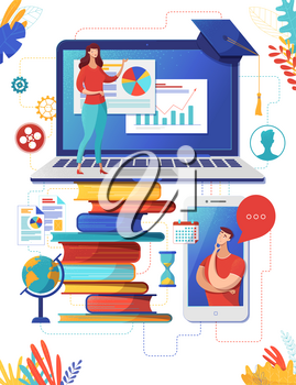School Internet class flat vector illustration. University teacher, tutor online support. Elearning, distance courses, remote academic education. Business coach presentation clipart