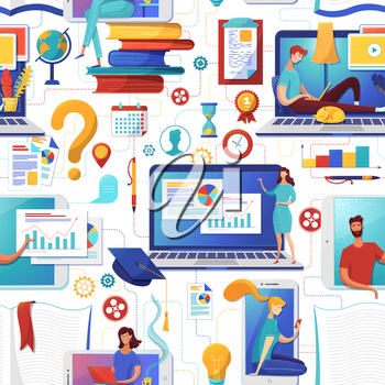 Online education flat vector seamless pattern. Students and pupils studying, using laptops, smartphones characters. E learning, distant classes, remote school, university background, wrapping paper