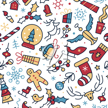 New Year festive vector cartoon seamless pattern. Snow flake, mistletoe berries winter season symbols color backdrop. Xmas items and accessories background. Christmas holidays wrapping paper design