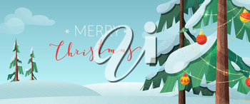 Merry Christmas flat vector banner template. Winter season holiday wishes. Xmas congratulations red ink handwritten calligraphy. Decorated fir trees in snowy forest greeting card design layout