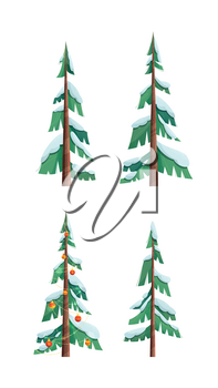 Snow covered trees flat vector illustrations set. Evergreen firs and spruces isolated on white background. Christmas tree decorated with garlands, toys, baubles. Winter season festival flora cliparts