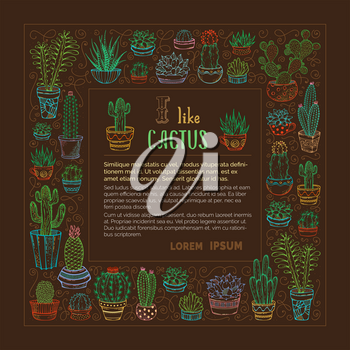 I like cactus background. Various outlined colourful cactuses and succulents in flower pots and cups on brown background. There is copy space.