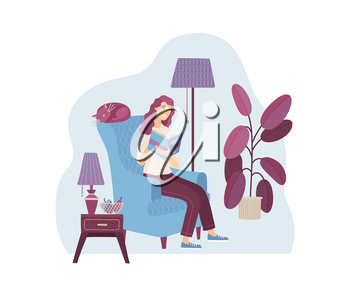 Young woman reading book at home in armchair. Happy casual girl relaxing with book in cozy living room vector illustration. Literature hobby and happy lifestyle. Distance education and knowledge.