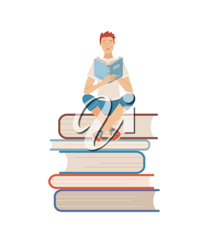 Young man reading book while sitting on stack of books. Boy relaxing with book isolated on white background. Literature hobby and happy lifestyle. Student studying with textbook vector illustration