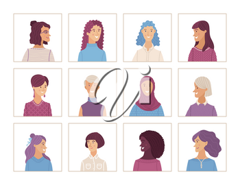 Flat women portraits set. Vector face icons. Hand-drawn various nationalities. Caucasian, Afro-American, Muslim. Blonde, brunette, and gray hair. Cartoon avatars for account, game, or forum.