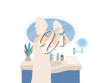 Woman after bath wearing towel and looking at mirror. She applying beauty mask to clearing her skin. Flat vector illustration. Female cartoon character.
