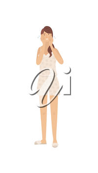 Cute girl washing her face and cleansing skin. Young woman wearing pajama taking care of her skin. Daily skincare routine. Start and end of day. Cartoon happy girl. Flat character on white background