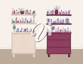 Beauty and health store interior. Cartoon shampoo, cream, lotion, scrub, perfume, soap, moisturizer on shelves. Vector flat illustration, banner template.