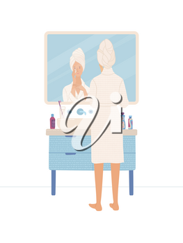 Beautiful woman clearing her skin in bathroom. Young girl wearing bathrobe looking at her reflection in mirror in bathroom. Everyday morning routine. Skincare and health. Flat vector illustration