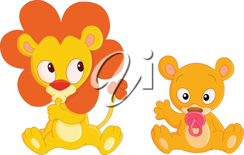Cute Baby lion and baby lioness