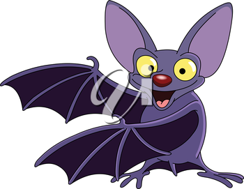 Cartoon bat presenting with his wings