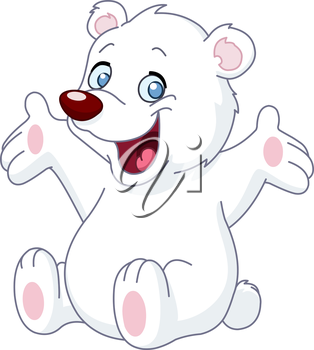 Happy white teddy bear raising his arms