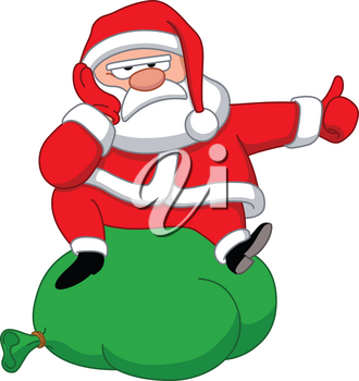 Upset Santa Claus sitting on a bag of presents and hitchhiking