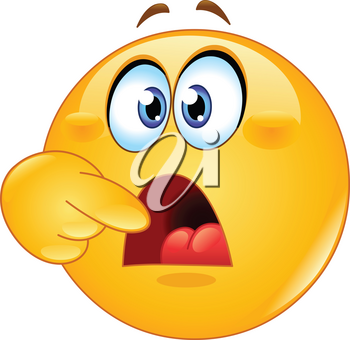 Hungry emoji emoticon asking for food by pointing to his open mouth.