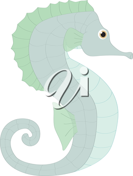 Royalty Free Clipart Image of a seahorse making the letter 'S'