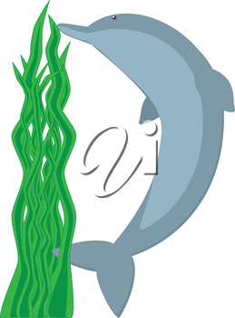 Royalty Free Clipart Image of a dolphin making the letter 'D'