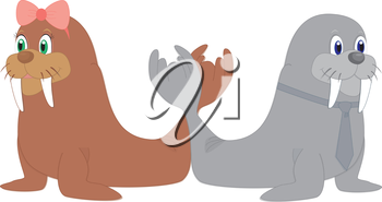 Royalty Free Clipart Image of two walruses forming the letter 'W'