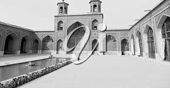 in iran the old   mosque and traditional wall tile incision near minaret