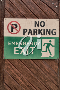 blur  in south africa  emergency  exit signal and no parking icon