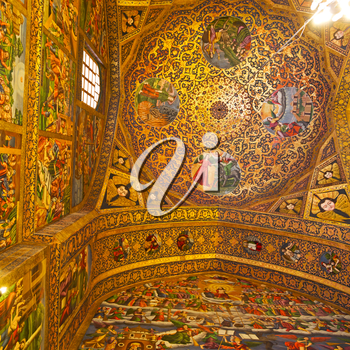 in iran the old    cathedral and traditional gold wall painted