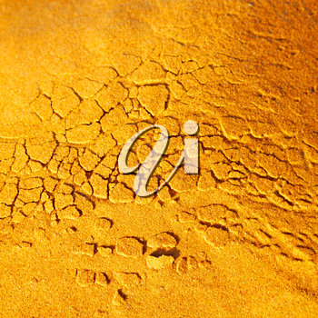 old desert and the abstract cracked sand texture  in oman    rub  al khali