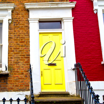 notting hill in london england old suburban and antique      wall door