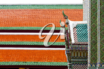 bangkok in the temple  thailand abstract cross colors roof wat  palaces   asia sky   and  colors religion mosaic