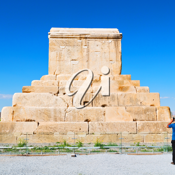 in iran   pasargad the old construction  temple and grave column