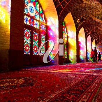 in iran blur colors from the windows the olf mosque traditional scenic light