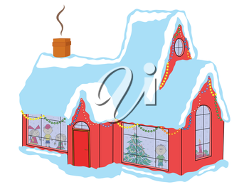 Happy children in snow-covered house awaiting Santa Claus before Christmas, hand drawing vector illustration
