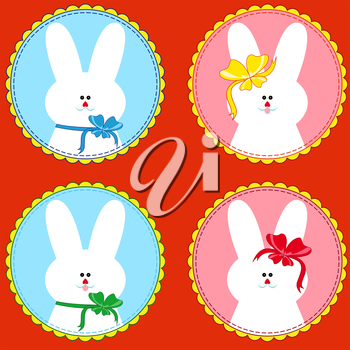 Set of four funny rabbits in round frameworks, hand drawing vector illustration