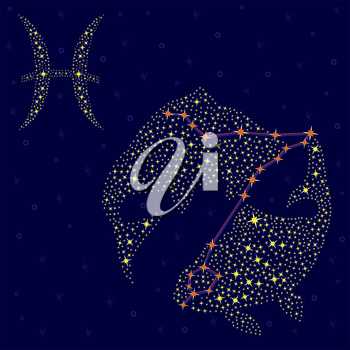 Zodiac sign Pisces on a background of the starry sky with the scheme of stars in the constellation, vector illustration